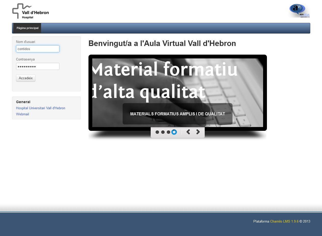 Portada del aula virtual de Vall D´Hebron
