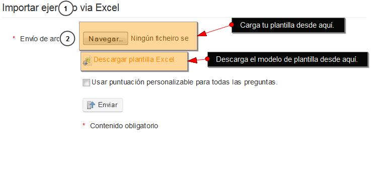 Captura de pantalla de la sección importar