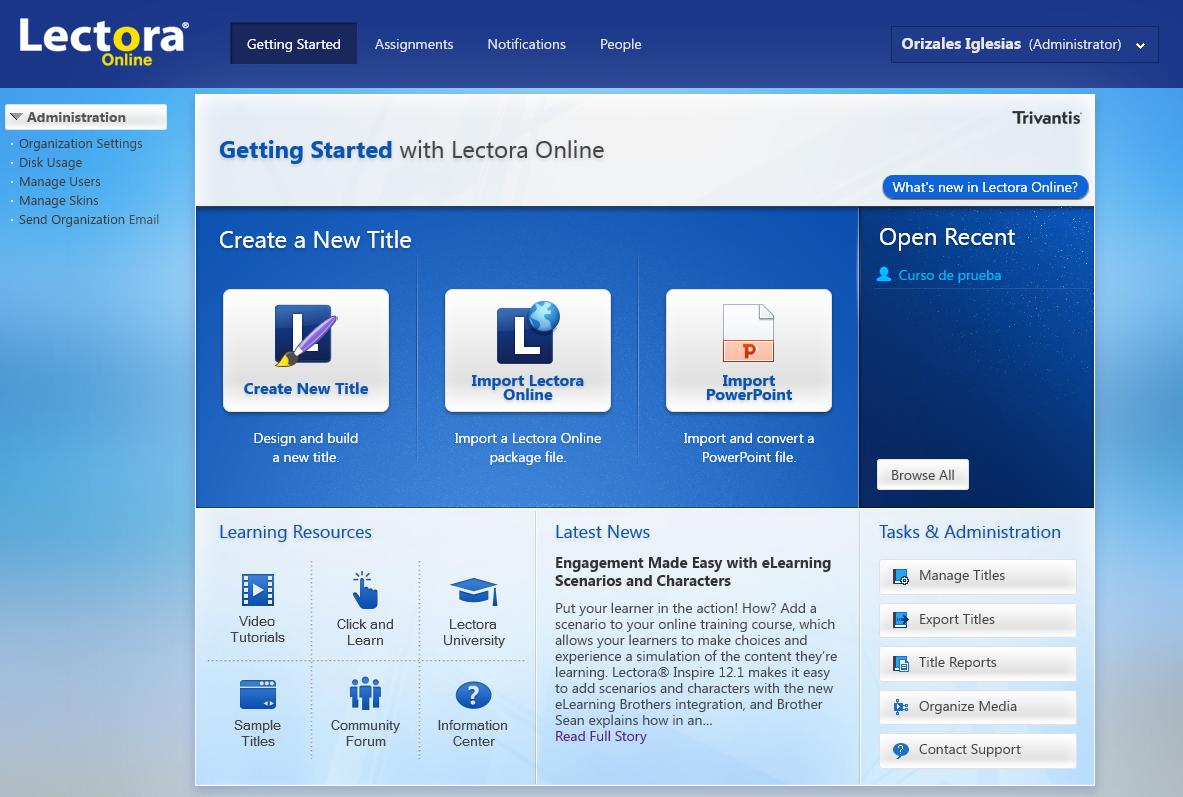 Interfaz de Lectora Online